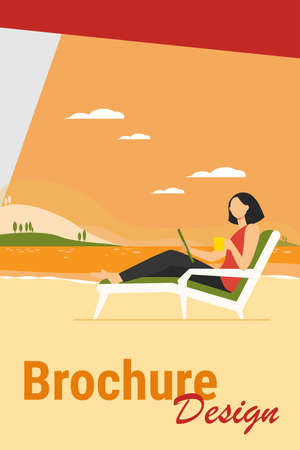 Woman sitting on beach chair by lake. Drinking coffee, using tablet, working outdoors flat vector illustration. Freelance, communication concept for banner, website design or landing web page Иллюстрация