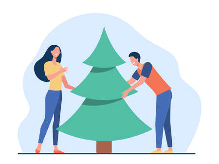 Young couple putting Christmas tree. Happy man and woman celebrating Xmas flat vector illustration. Holiday, December, New Year party concept for banner, website design or landing web page Иллюстрация