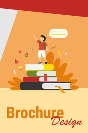Schoolboy standing on books, raising hand and speaking. Pupil reading home task report flat vector illustration. School, education, knowledge concept for banner, website design or landing web page