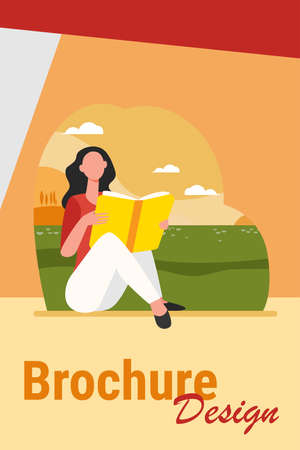 Young woman reading book outdoors. Girl relaxing on grass, student doing home task flat vector illustration. Knowledge, literature, education concept for banner, website design or landing web page Иллюстрация