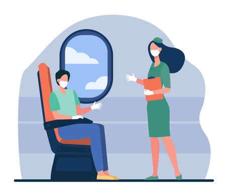 Airplane passenger and stewardess wearing face masks and gloves. People on board during epidemic flat vector illustration. Virus, pandemic, protection concept for banner, website design or web page