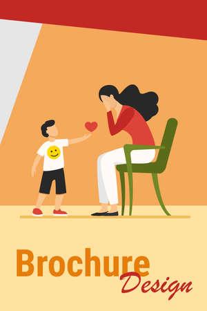 Little boy giving heart to sad mother. Love, care, childhood flat vector illustration. Relationship and family concept for banner, website design or landing web page Иллюстрация