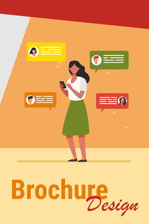 Young woman chatting with friends via smartphone. Mobile phone, device, chat flat vector illustration. Communication and digital technology concept for banner, website design or landing web page