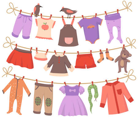 Drying baby clothes set. Clean small bodies, dresses, pants, shorts, socks, pajamas, toys hanging on ropes with birds. Vector illustrations collection for infants garments, parenthood, laundry concept Illusztráció