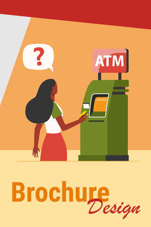 African American woman using ATM. Money, card, cash flat vector illustration. Finance and digital technology concept for banner, website design or landing web page