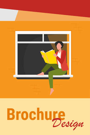 Young woman reading book on windowsill. Girl enjoying novel, student doing home task flat vector illustration. Knowledge, literature, reader concept for banner, website design or landing web page