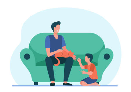 Happy dad with son and cat at home. Family enjoying leisure time together flat vector illustration. Parenthood, pet care, father concept for banner, website design or landing web page Иллюстрация