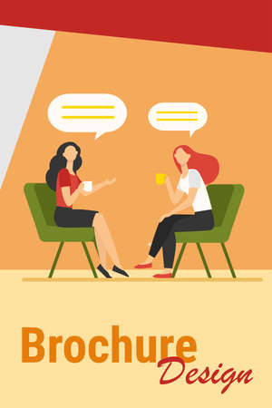 Women talking over cup of coffee. Female friends meeting in coffee shop, chat bubbles flat vector illustration. Friendship, communication concept for banner, website design or landing web page