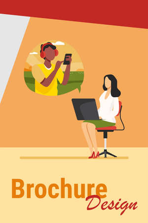 Young woman video chatting with guy via laptop. Chair, smartphone, conference flat vector illustration. Communication and digital technology concept for banner, website design or landing web page Иллюстрация