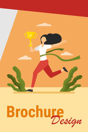 Running woman winning racing. Marathon leader holding cup, crossing line with red ribbon flat vector illustration. Competition, prize, trophy concept for banner, website design or landing web page Иллюстрация