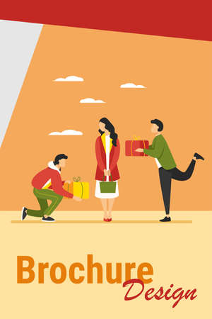 Young woman getting gifts from adorers. Presents, admirers, rivals in love flat vector illustration. Giving gifts, dating, relationship concept for banner, website design or landing web page