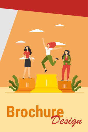 Three leaders standing on podium. Winner celebrating success, second and third place flat vector illustration. Competition, prize, success concept for banner, website design or landing web page