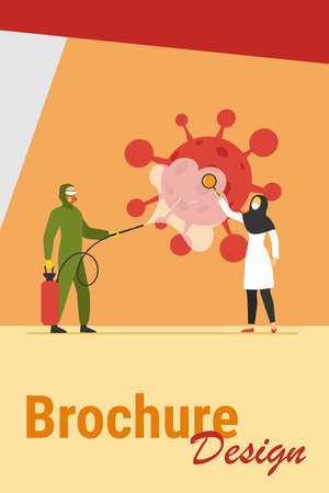 Arabs in protective costumes disinfecting area from virus. Coronavirus, mask, magnifier flat vector illustration. Pandemic and prevention concept for banner, website design or landing web page Иллюстрация