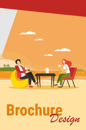 Young couple drinking coffee on lake shore. Couple man and woman dating outdoor flat vector illustration. Romantic meeting, romance, vacation concept for banner, website design or landing web page