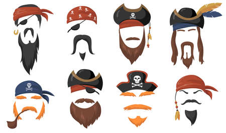 Pirate face masks for carnival flat item set. Cartoon sea pirates hats, journey bandana, beard and smoke pipe isolated vector illustration collection. party accessories and head costume concept Çizim