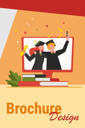 Happy graduated students with diploma on monitor. Book, university, buyer flat vector illustration. Education and knowledge concept for banner, website design or landing web page