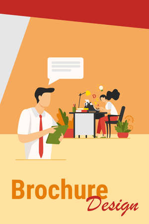 Female writer typing new text for editor. Article, book, idea flat vector illustration. Typography and work concept for banner, website design or landing web page Иллюстрация