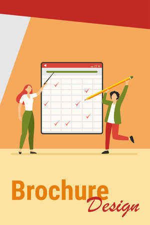 Teacher explaining task. Student passing test, drawing ticks in matrix flat vector illustration. Education, class, lesson concept for banner, website design or landing web page Иллюстрация