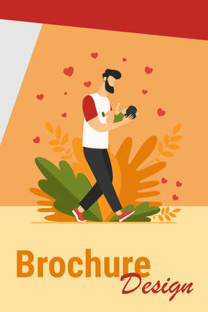 Young dad walking and carrying baby. New father admiring child flat vector illustration. Love, fatherhood, childcare concept for banner, website design or landing web page