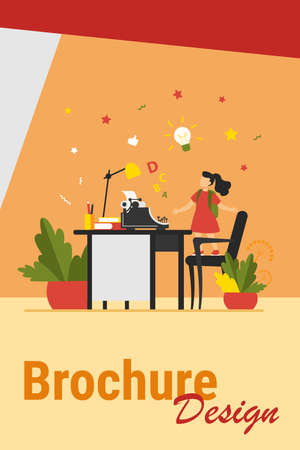 Little girl with idea looking on typewriter. Chair, desk, story flat vector illustration. Imagination and writing concept for banner, website design or landing web page Иллюстрация