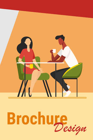 Couple dating in coffee shop. Young man and woman drinking coffee together flat vector illustration. Romantic meeting, romance concept for banner, website design or landing web page Иллюстрация