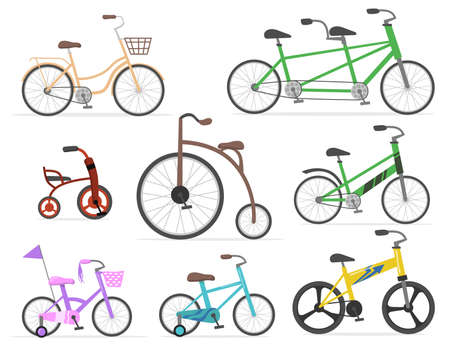 Modern and retro bicycles flat set for web design. Cartoon drawing old cycles and cute bikes in bright colors isolated vector illustration collection. Transport, cycling and race concept