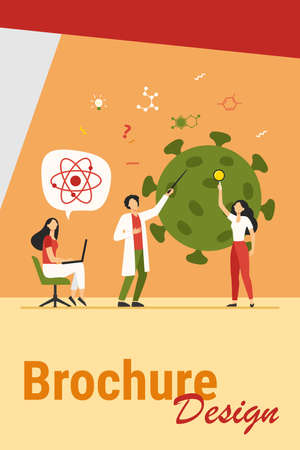 Scientists studying coronavirus. Team of experts doing medical research flat vector illustration. Virus, pandemic, science concept for banner, website design or landing web page