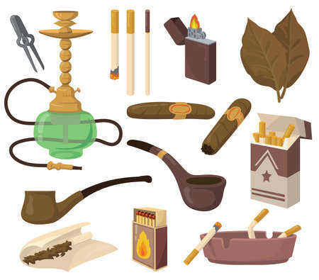 Smoking accessories set. Tobacco leaves, cigarettes, hookah, cigar, pipe, ashtray isolated on white background. Vector illustrations collection for drug, nicotine addiction, harmful habit concept