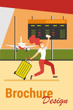 Woman in mask celebrating travel ban cancel. Passenger running in airport flat vector illustration. Late for boarding, virus and travel concept for banner, website design or landing web page