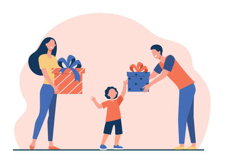 Happy parents giving gifts to son. Boy receiving birthday presents flat vector illustration. Surprise, Christmas, childhood concept for banner, website design or landing web page