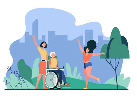 Old man meeting with family. Wheelchair, daughter, granddaughter flat vector illustration. Generations, elderly care, togetherness concept for banner, website design or landing web page