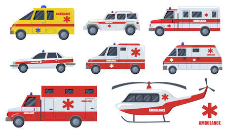 Medical care transport flat item set. Cartoon ambulance cars and vehicles design isolated vector illustration collection. Emergency, transportation, aid service and fast rescue concept Иллюстрация
