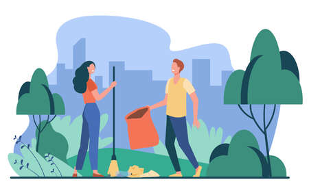 Happy couple picking up litter outdoors. Young people cleaning park from garbage flat vector illustration. Volunteering, nature care concept for banner, website design or landing web page
