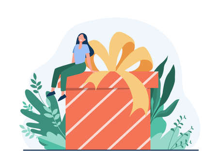 Happy woman receiving gift. Tiny cartoon character sitting on huge present box with bow flat vector illustration. Birthday, surprise, Christmas concept for banner, website design or landing web page