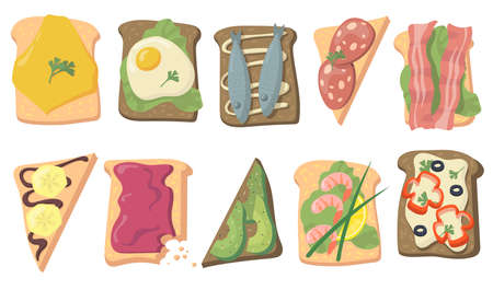 Various tasty toasts flat set for web design. Cartoon sandwich bread with eggs, fish, cheese, avocado slices, bacon isolated vector illustration collection. Healthy food and breakfast concept Иллюстрация