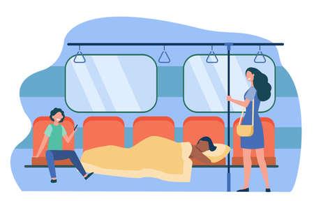 Man sleeping under blanket in subway train. Sleepwalker, homeless, laughing passengers flat vector illustration. Sleep disorder, public transport concept for banner, website design or landing web page Иллюстрация