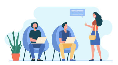 Men working at laptop. Woman showing thumb up to them flat vector illustration. Communication, team, coworking concept for banner, website design or landing web page Иллюстрация