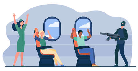 Armed terrorist aiming gun at plane passengers on board. People putting hands up in air flat vector illustration. On board aircraft hijacking concept for banner, website design or landing web page