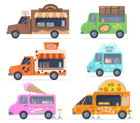 Street food trucks set. Colorful buses for selling pastry, fast food, cotton candy, coffee, ice cream, pizza. Vector illustrations collection for catering, outdoor cafe, menu, food fair concept Иллюстрация