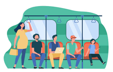 Pregnant woman standing by impolite subway train passengers. Men sitting on seats flat vector illustration. Society problems, public transport concept for banner, website design or landing web page Иллюстрация