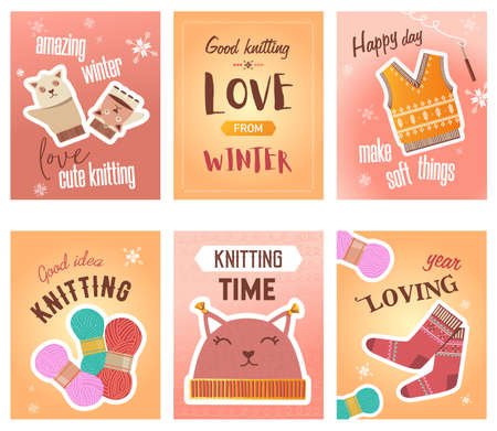 Winter knitting flyers set. Crochet, thread and yarns, knitted cloth, cute mittens and socks vector illustrations with text. Handmade hobby concept for craft shop posters and brochures design Иллюстрация