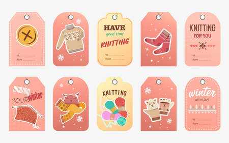 Knitting retail tags set. Pins and yarns, knitted clothes and toys vector illustrations with text and discount percent. Handmade hobby concept for craft shop labels and postcards design