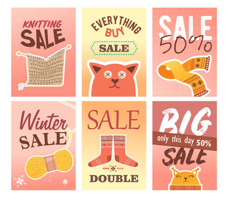 Knitting sale flyers set. Pins and yarns, knitted clothes and toys vector illustrations with text and discount percent. Handmade hobby concept for craft shop retail posters and leaflets design Иллюстрация