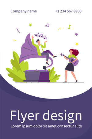 Guy listening to music at retro gramophone. Girl playing guitar and singing flat vector illustration. Entertainment, performing, leisure concept for banner, website design or landing web page 矢量图像