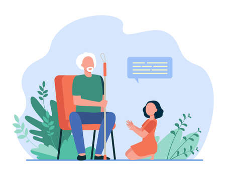 Little girl sitting on floor and speaking with grandfather. Dialog, grandchild, elderly flat vector illustration. Retirement or communication concept for banner, website design or landing web page