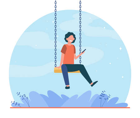 Happy kid sitting on swing and holding phone. Boy, smartphone, game flat vector illustration. Childhood and entertainment concept for banner, website design or landing web page Vetores