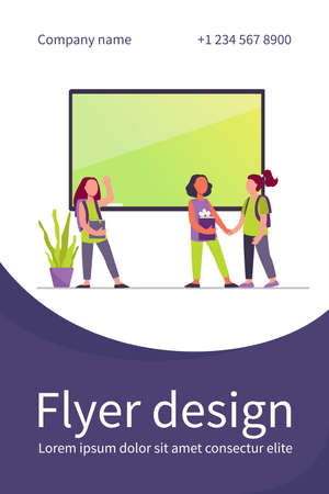 Schoolgirls meeting in classroom. Group of friends, classmates holding hands, waving hello flat vector illustration. Communication, friendship concept for banner, website design or landing web page