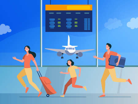 Happy family running for flight registration. Tourist, baggage, plane flat vector illustration. Travelling and vacation concept for banner, website design or landing web page