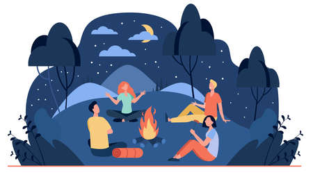 Happy friends sitting near campfire at summer night flat vector illustration. Cartoon people telling scary story near fire. Summertime camping and nature recreation concept