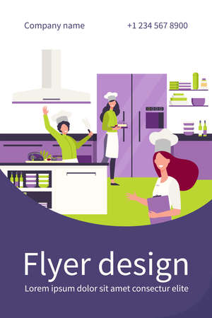 Professional chefs cooking at restaurant kitchen flat vector illustration. Happy cartoon cooks preparing food and desserts for cafe. Interior, gourmet and hospitality concept